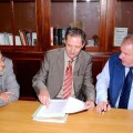 Bürgermeister Hanns-Michel Noll (re.) und SPD-Stadtrat Heinz Grimme (li.) Im Gespräch mit Landtagsmitglied Ronald Brachmann.